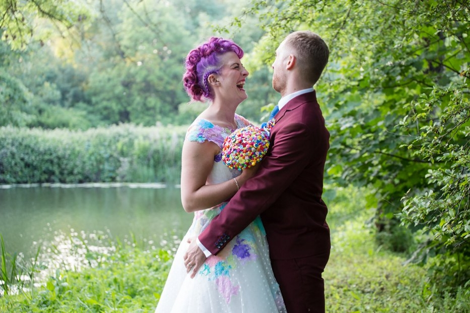 alternative bedford barns wedding purple haired bride Couture Company dress
