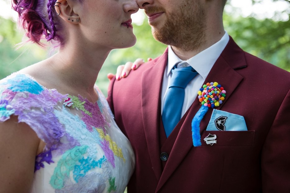 alternative bedford barns wedding groom famous star button buttonhole Rock and roll groom pin