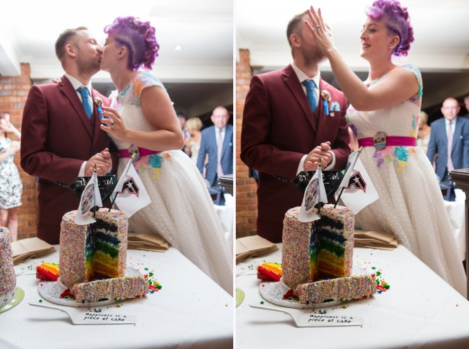 alternative bedford barns wedding purple haired bride coloured wedding cake
