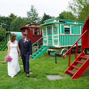 Gypsy caravan wedding South Farm Cambridgeshire