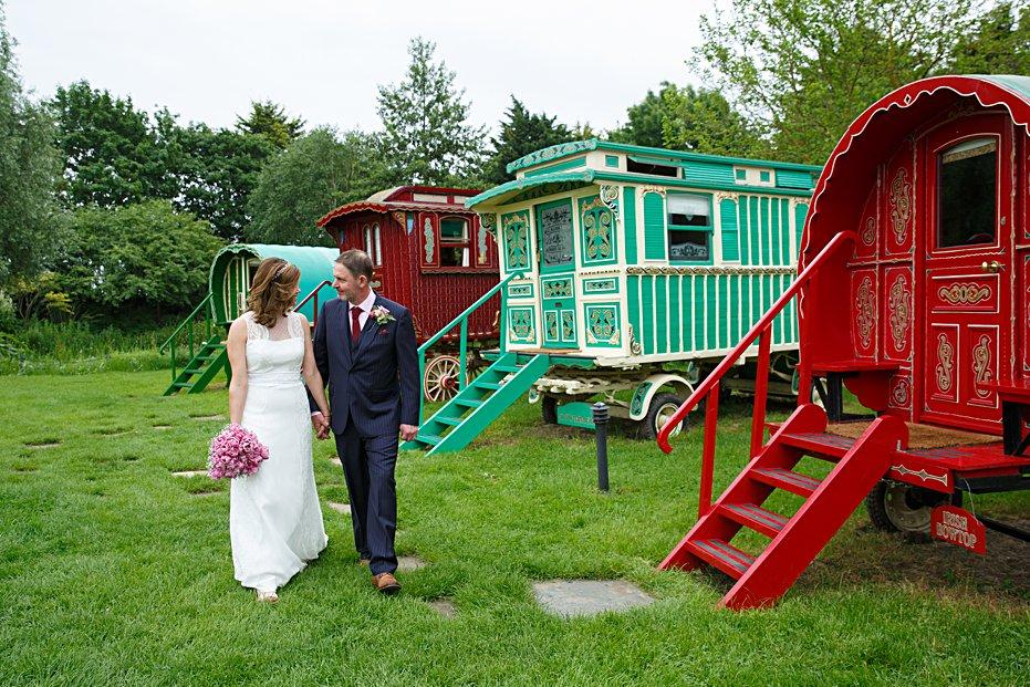 Gypsy caravan wedding South Farm Cambridgeshire