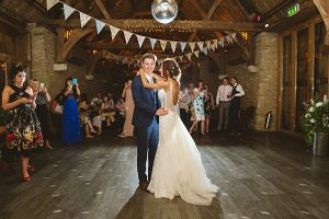 first dance boho bride diy tythe barn bicester wedding Sharon Cooper Photography