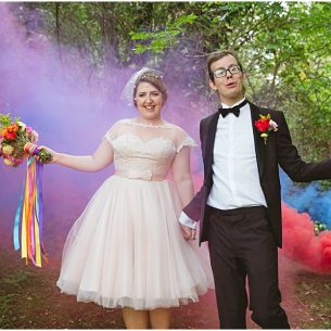 Letchworth Wedding photographer Sharon Cooper Smoke grenades Bride and groom