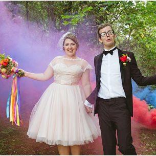 Letchworth Wedding photographer Sharon Cooper Smoke grenades Bride and groom
